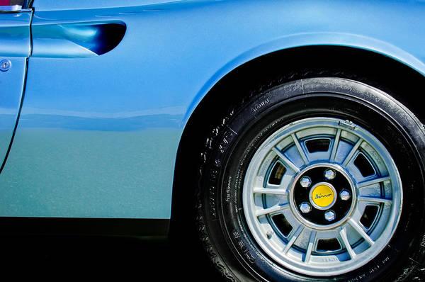 Photograph - 1974 Ferrari Dino Targa Gts Wheel Emblem by Jill Reger