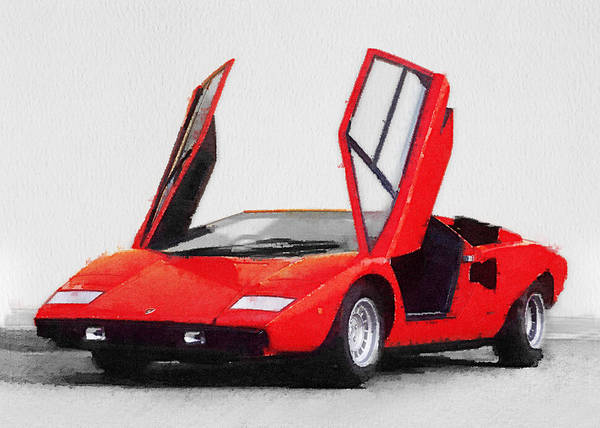 Car Mixed Media - 1974 Lamborghini Countach Open Doors Watercolor by Naxart Studio