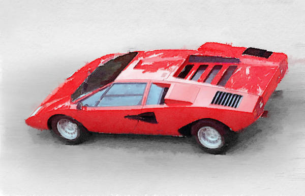 Car Mixed Media - 1974 Lamborghini Countach Watercolor by Naxart Studio