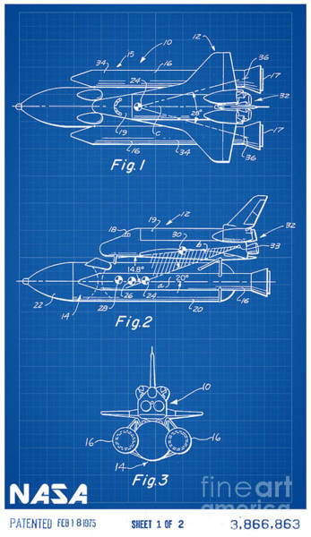 Space Shuttle Digital Art - 1975 Nasa Space Shuttle Patent Art 1 by Nishanth Gopinathan
