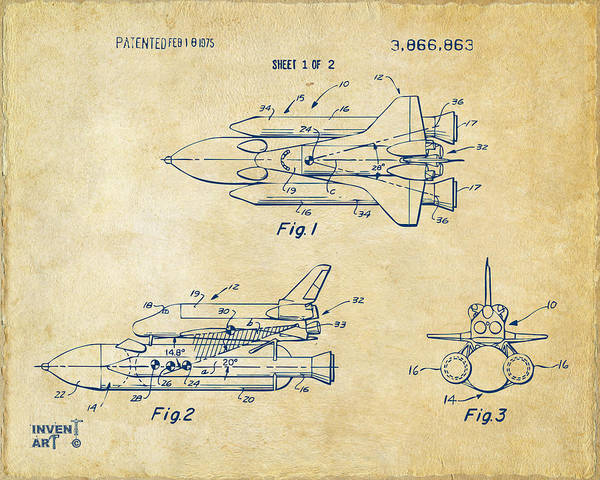 Wall Art - Digital Art - 1975 Space Shuttle Patent - Vintage by Nikki Marie Smith