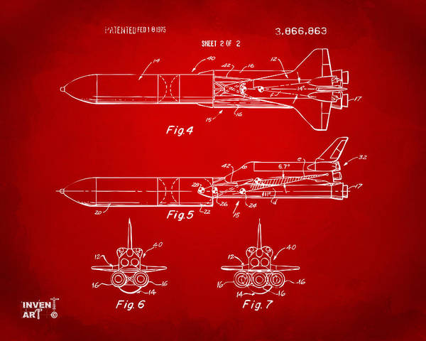 Space Shuttle Digital Art - 1975 Space Vehicle Patent - Red by Nikki Marie Smith