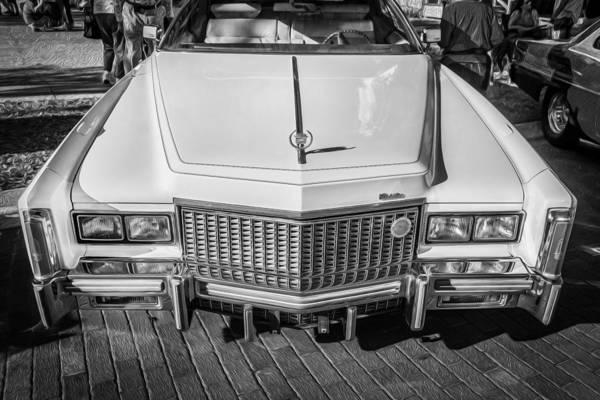 V8 Engine Photograph - 1976 Cadillac Eldorado Bw by Rich Franco