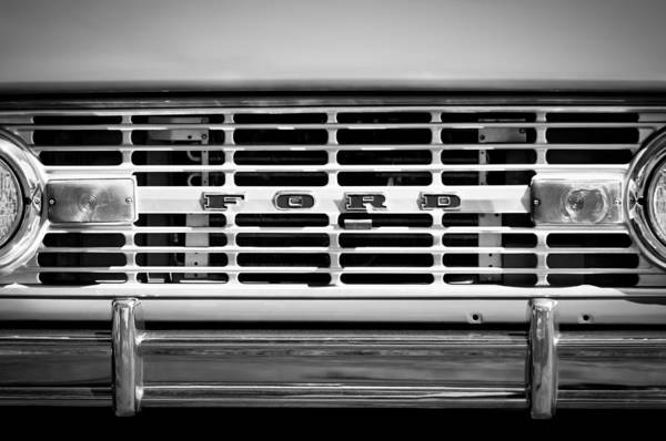 1976 Photograph - 1976 Ford Bronco Grille Emblem -3275bw by Jill Reger
