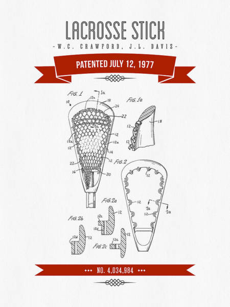Stick Digital Art - 1977 Lacross Stick Patent Drawing - Retro Red by Aged Pixel