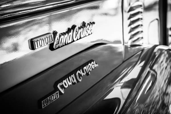 Photograph - 1977 Toyota Land Cruiser Fj40 Emblem -0952bw by Jill Reger