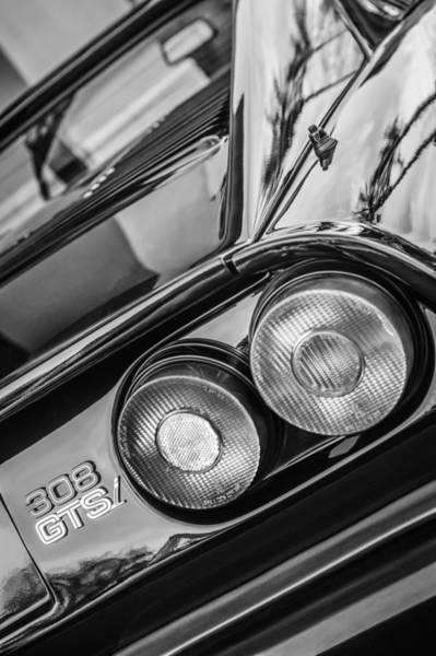 Photograph - 1980 Ferrari 308 Gtsi Taillight Emblem -0036bw by Jill Reger