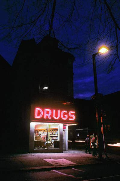 Neon Pink Photograph - 1980s 24 Hour Drug Store At Night Pink by Vintage Images