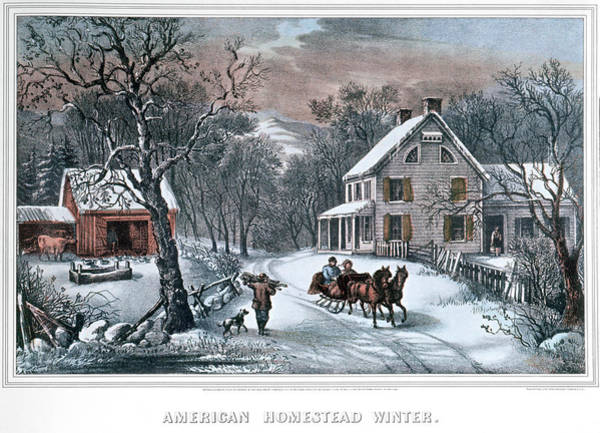 Wall Art - Painting - 1980s American Homestead Winter - by Vintage Images