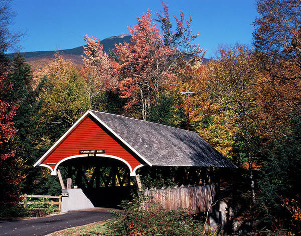 Franconia Notch Photograph - 1980s Autumn Scenic Of In The Flume by Vintage Images