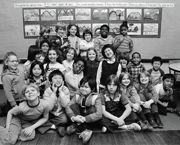 Ethnic Minority Photograph - 1980s Group Portrait Of Grade School by Vintage Images