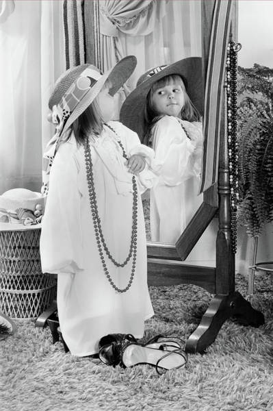 Dressing Photograph - 1980s Little Girl Dressed Up In Adult by Vintage Images