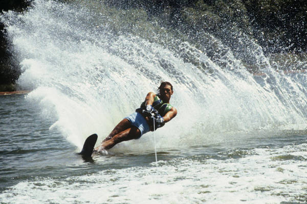 Wall Art - Photograph - 1980s Man Waterskiing Making Fan by Vintage Images