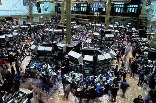 Turmoil Photograph - 1980s New York Stock Exchange Trading by Vintage Images