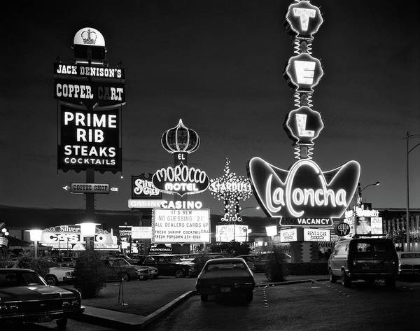 Promotion Photograph - 1980s Night Neon On The Strip For El by Vintage Images
