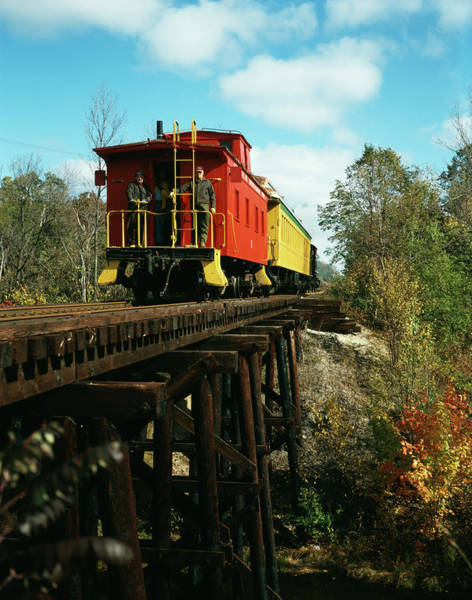 Red Caboose Photograph - 1980s Now Defunct Kettle Moraine Scenic by Vintage Images