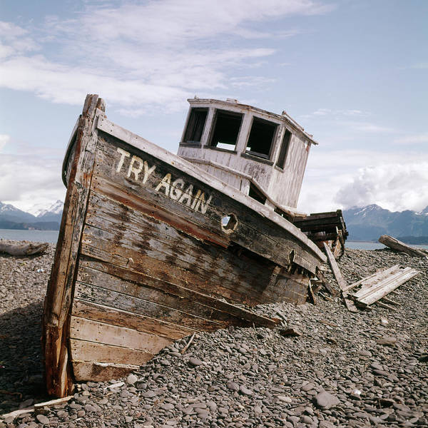 Proverb Photograph - 1980s Try Again Boat Wreck Homer Alaska by Vintage Images