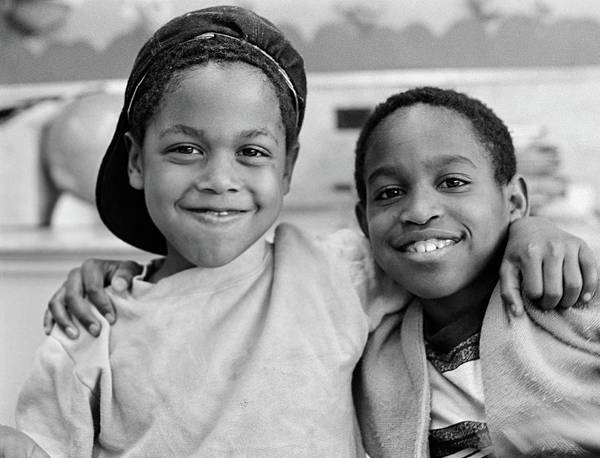 Ethnic Minority Photograph - 1980s Two African American Boys Smiling by Vintage Images