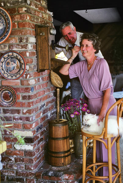 Crank Photograph - 1980s Woman Wife Talking On Antique by Vintage Images
