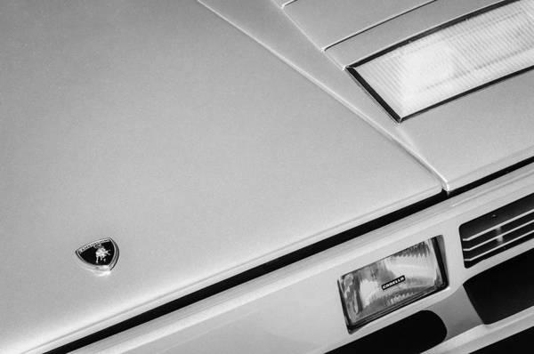 Photograph - 1982 Lamborghini Countach 5000s Hood Emblem -1518bw by Jill Reger