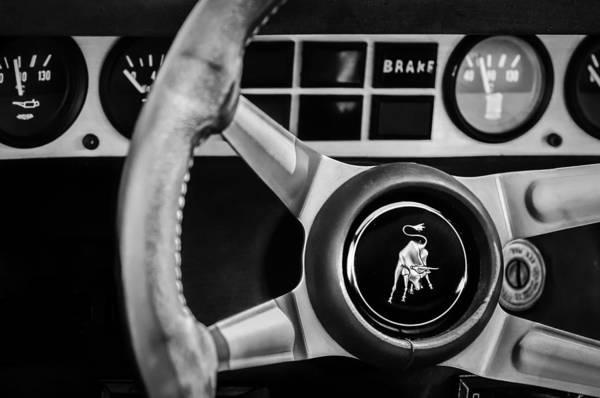 Photograph - 1982 Lamborghini Countach 5000s Steering Wheel Emblem -1549bw by Jill Reger