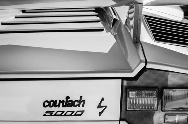 Photograph - 1982 Lamborghini Countach 5000s Taillight Emblem -0453bw by Jill Reger