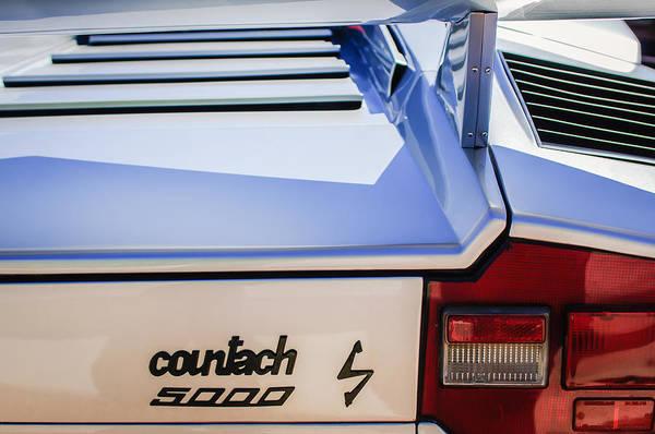 Photograph - 1982 Lamborghini Countach 5000s Taillight Emblem -0453c by Jill Reger