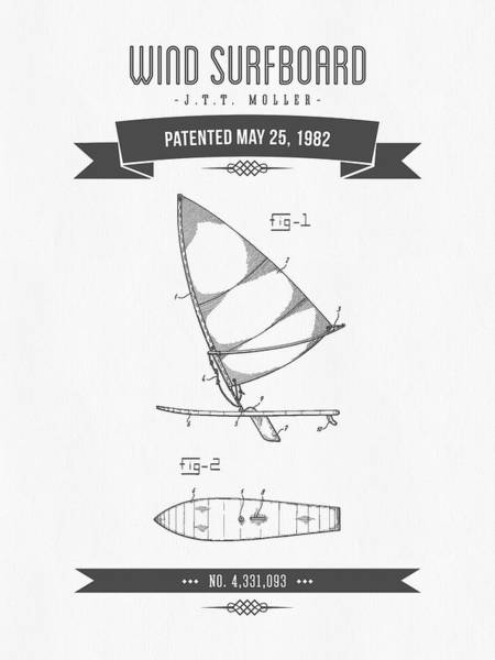 Wind Digital Art - 1982 Wind Surfboard Patent Drawing - Retro Gray by Aged Pixel