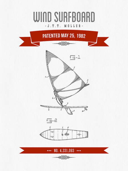 Wind Digital Art - 1982 Wind Surfboard Patent Drawing - Retro Red by Aged Pixel