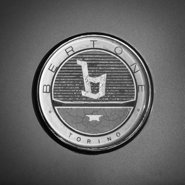 Photograph - 1986 Fiat Emblem -0054bw by Jill Reger