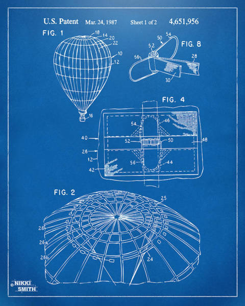 Hot Air Balloon Digital Art - 1987 Hot Air Balloon Patent Artwork - Blueprint by Nikki Marie Smith