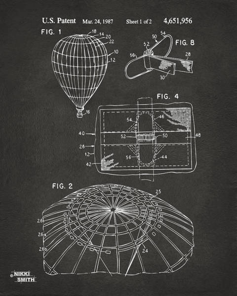 Hot Air Balloon Digital Art - 1987 Hot Air Balloon Patent Artwork - Gray by Nikki Marie Smith