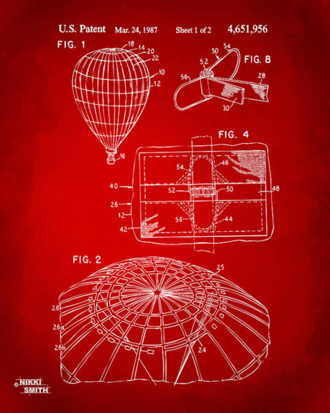 Hot Air Balloon Digital Art - 1987 Hot Air Balloon Patent Artwork - Red by Nikki Marie Smith