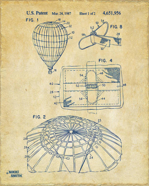 Hot Air Balloon Digital Art - 1987 Hot Air Balloon Patent Artwork - Vintage by Nikki Marie Smith