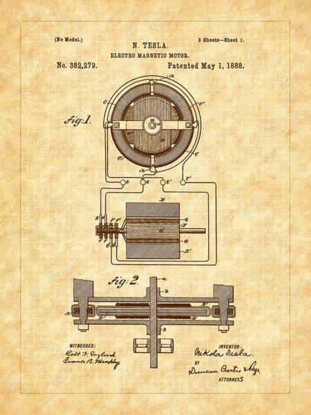 Digital Art - 1988 Nickola Tesla's Electromagnetic Motor Patent   by Barry Jones