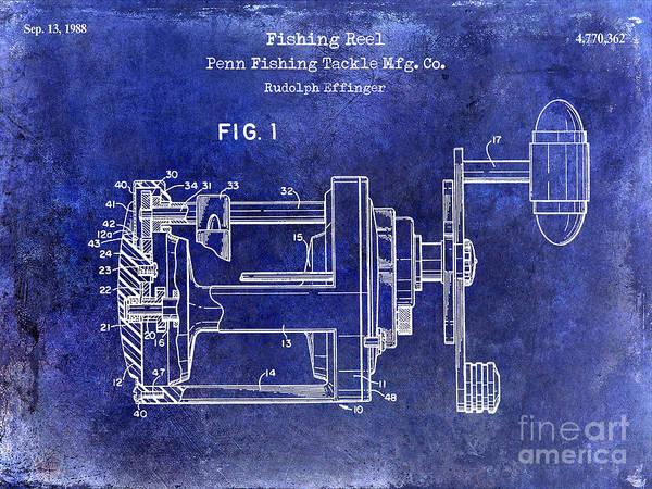 Redfish Lake Photograph - 1988 Penn Fishing Reel Patent Drawing Blue by Jon Neidert