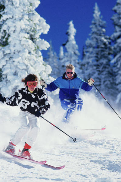 Partner Photograph - 1990s Couple Skiing Vail Colorado Usa by Vintage Images