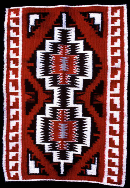 Native American Blanket Painting - 1990s Navajo Rug Traditional Patterns by Vintage Images