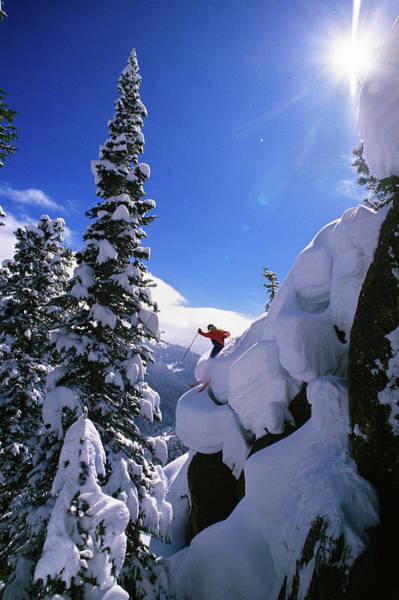 Wall Art - Photograph - 1990s Skier On The Mary Jane At Winter by Vintage Images