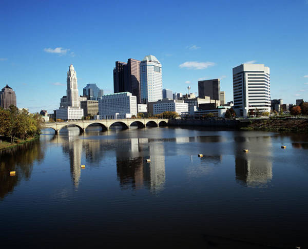 Scioto Photograph - 1990s Skyline Along The Scioto River by Vintage Images