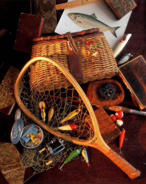 Angling Art Wall Art - Photograph - 1990s Still Life With Fishing Gear by Vintage Images