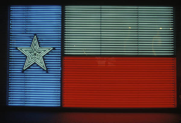 Vintage Neon Sign Photograph - 1990s Texas State Flag In Neon Sign by Vintage Images