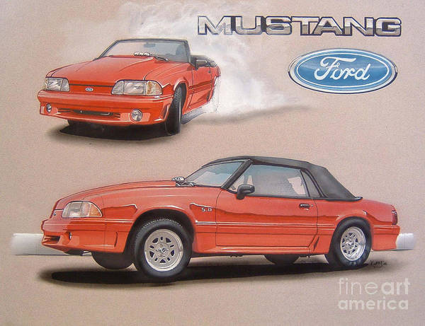 Ford Drawing - 1991 Ford Mustang by Paul Kuras