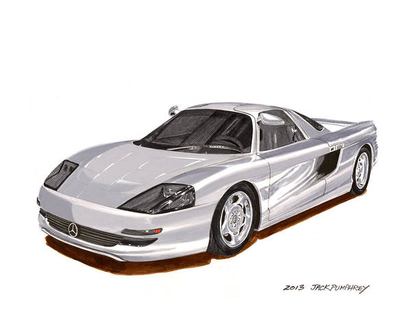 Classic Car Drawings Painting - 1991 Mercedes Benz C 112 Concept by Jack Pumphrey