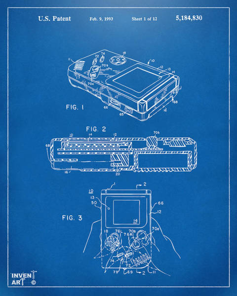 Wall Art - Digital Art - 1993 Nintendo Game Boy Patent Artwork Blueprint by Nikki Marie Smith