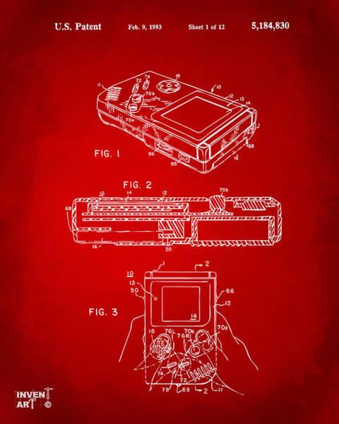 Wall Art - Digital Art - 1993 Nintendo Game Boy Patent Artwork Red by Nikki Marie Smith