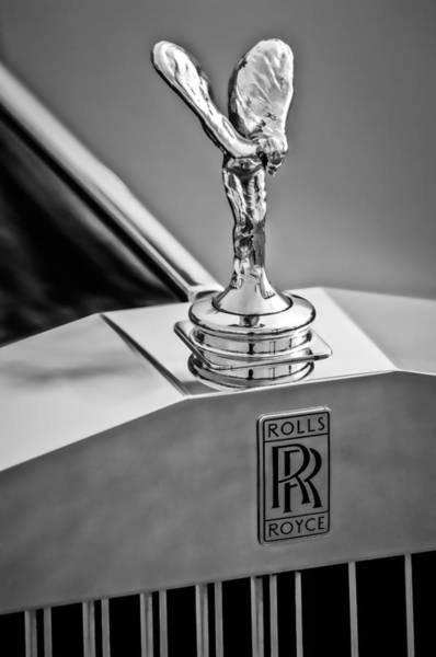 Photograph - 1994 Rolls-royce Hood Ornament - Emblem -0691bw by Jill Reger