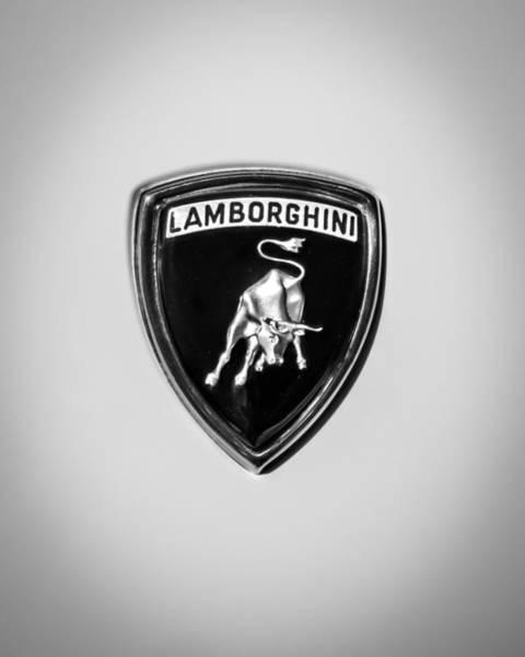 Roadsters Photograph - 1997 Lamborchini Diablo Roadster Emblem -0209dcbw by Jill Reger