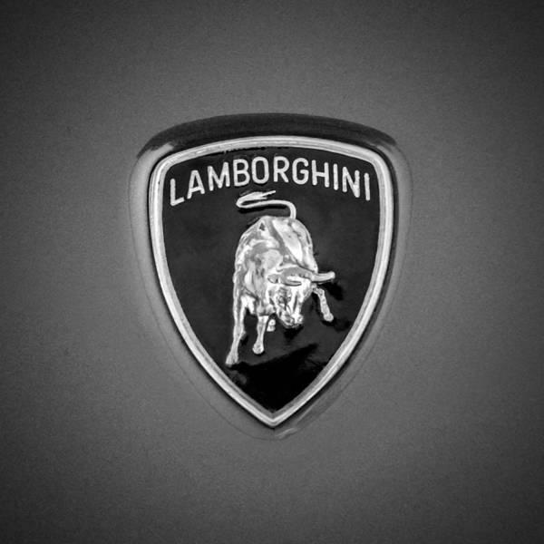 Photograph - 1997 Lamborghini Diablo Roadster Emblem -0209bw by Jill Reger