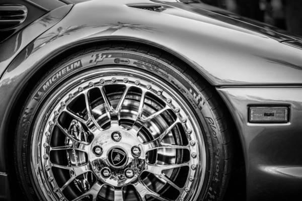 Photograph - 1997 Lamborghini Diablo Roadster Wheel Emblem -1288bw by Jill Reger